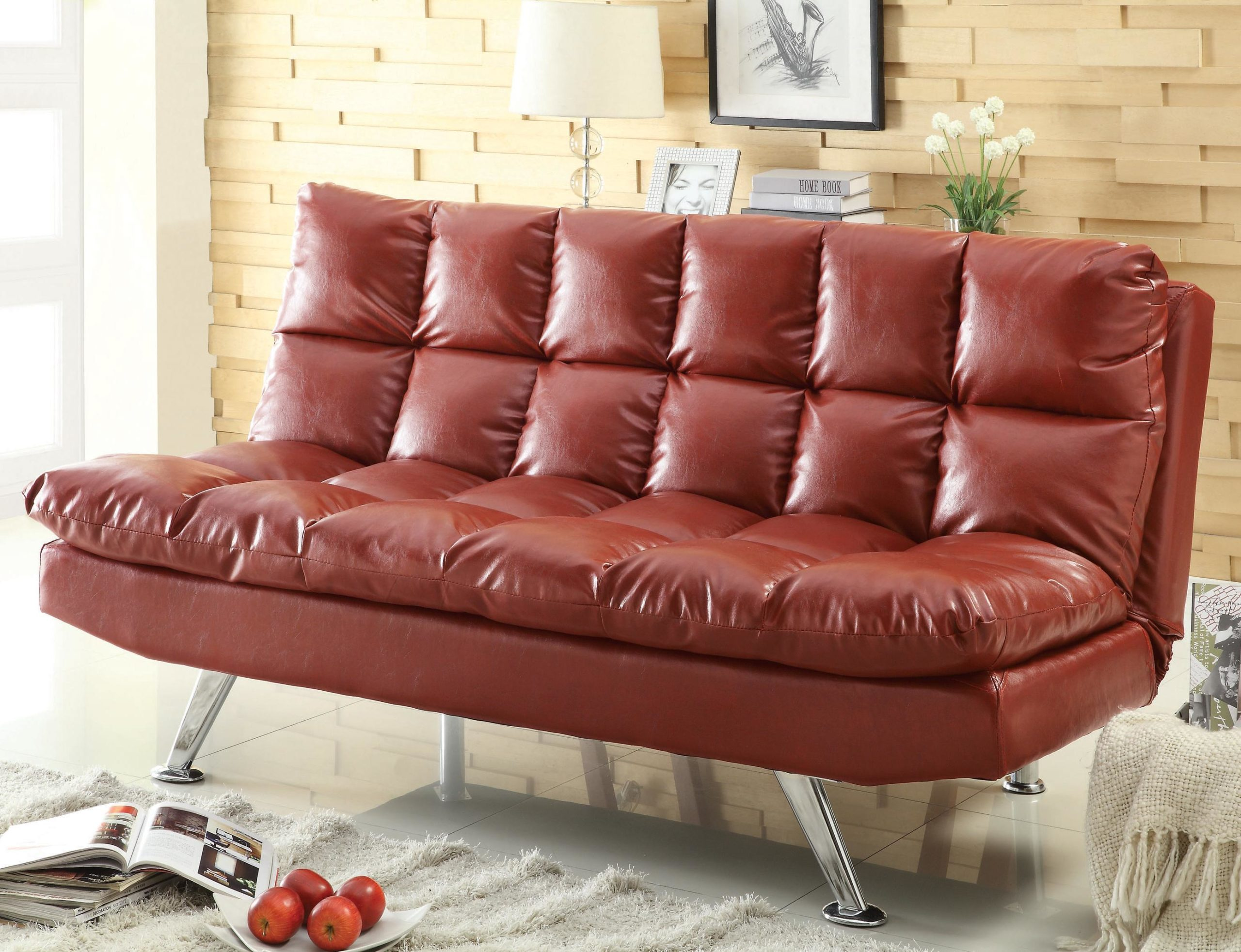 Contemporary Red Vinyl Sofa Bed with Pillow Top Cushioning