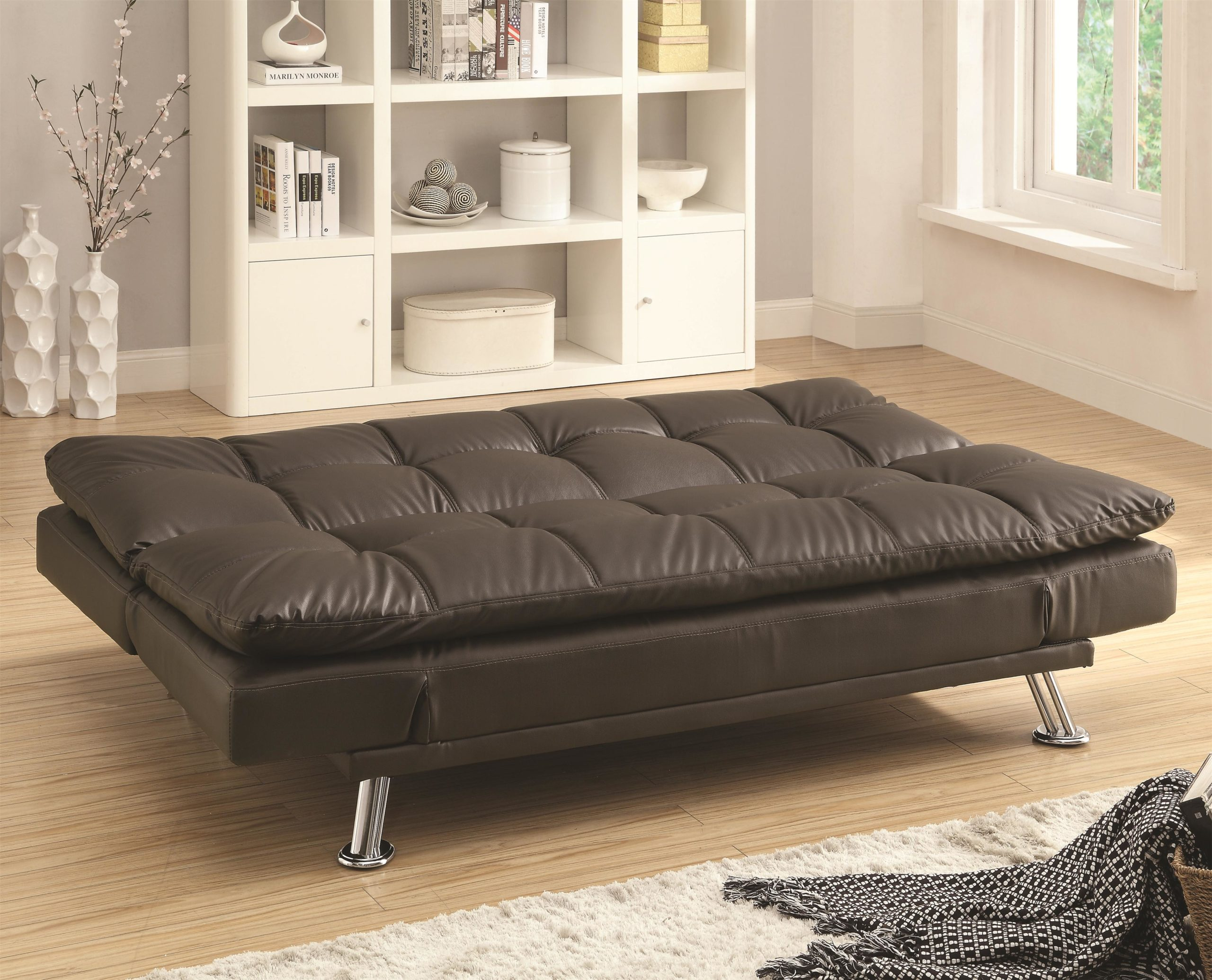 Sofa Bed in Futon Style with Chrome Legs