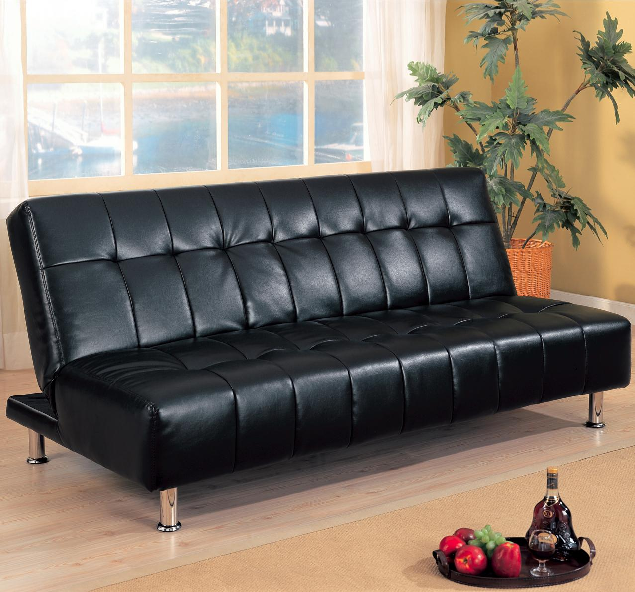 Faux Leather Black Armless Convertible Sofa Bed