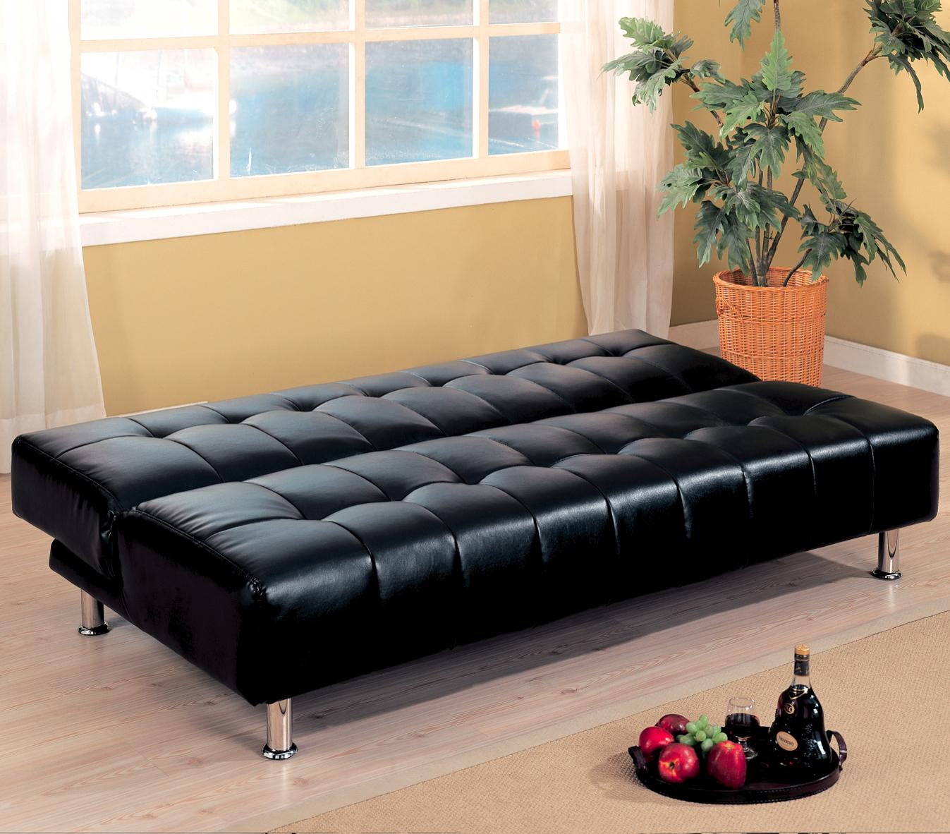 Black Faux Leather Armless Convertible Sofa down position