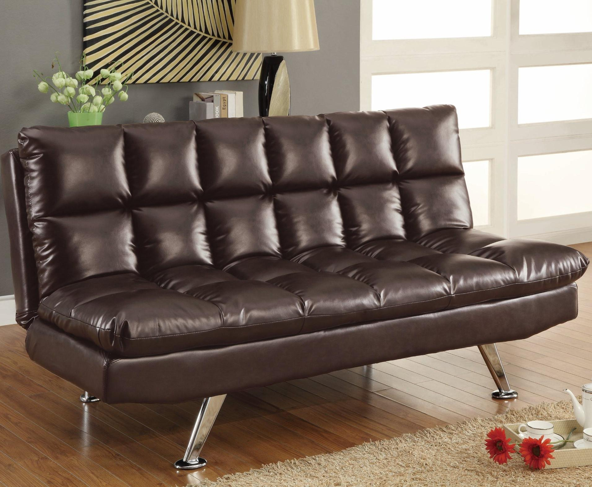Adjustable Brown Sofa Bed with Cup Holders