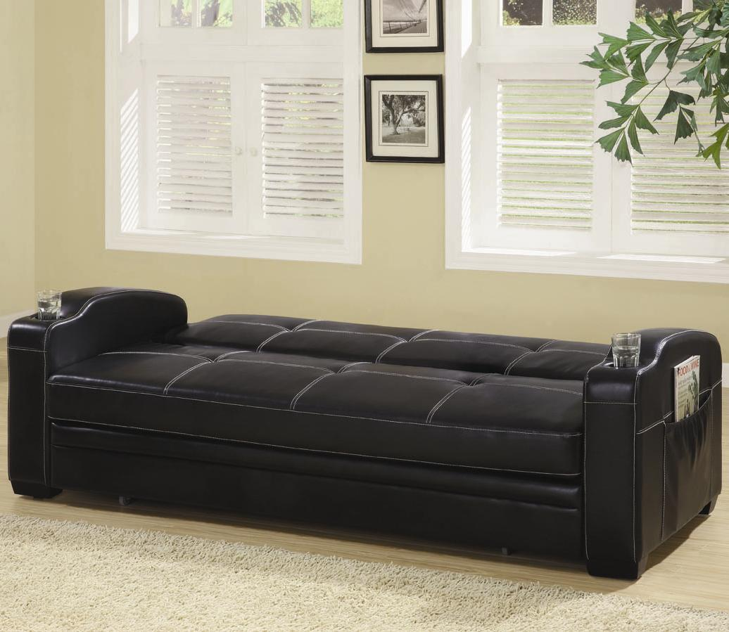 Black Faux Leather Sofa Bed with Storage and Cup Holders down position