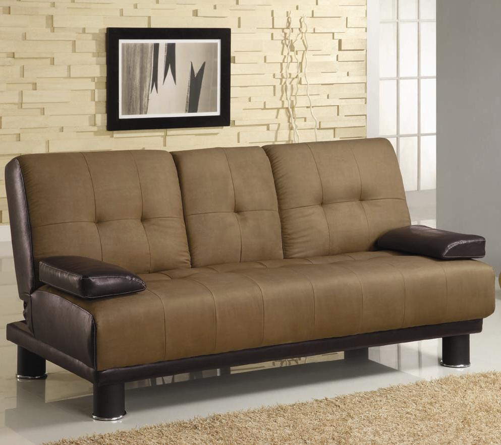 Brown Two Tone Convertible Sofa Bed with Drop Down Console