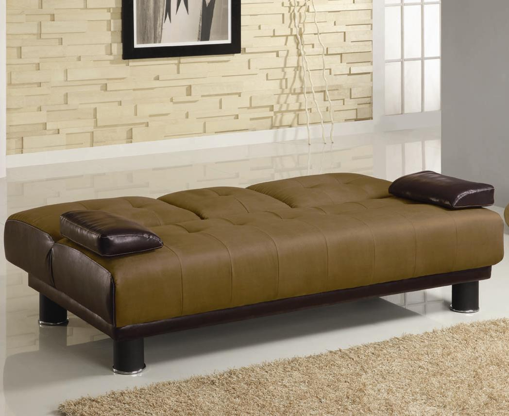 Brown Two Tone Convertible Sofa Bed with Drop Down Console down position