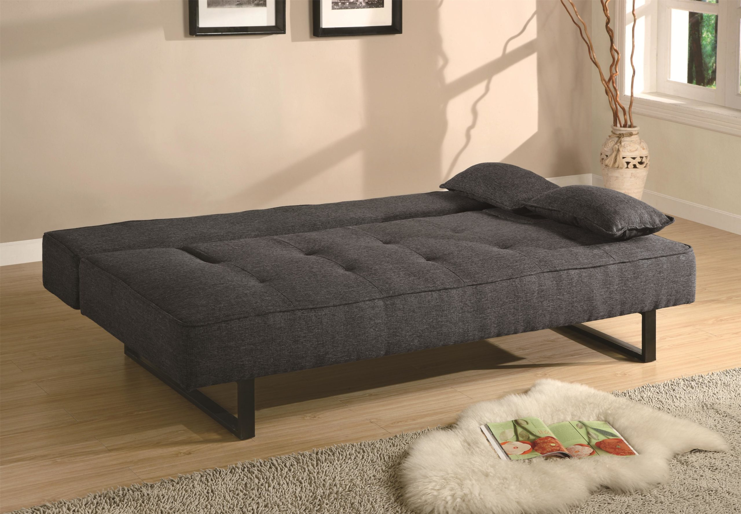 Grey Contemporary Armless Sofa Bed down position