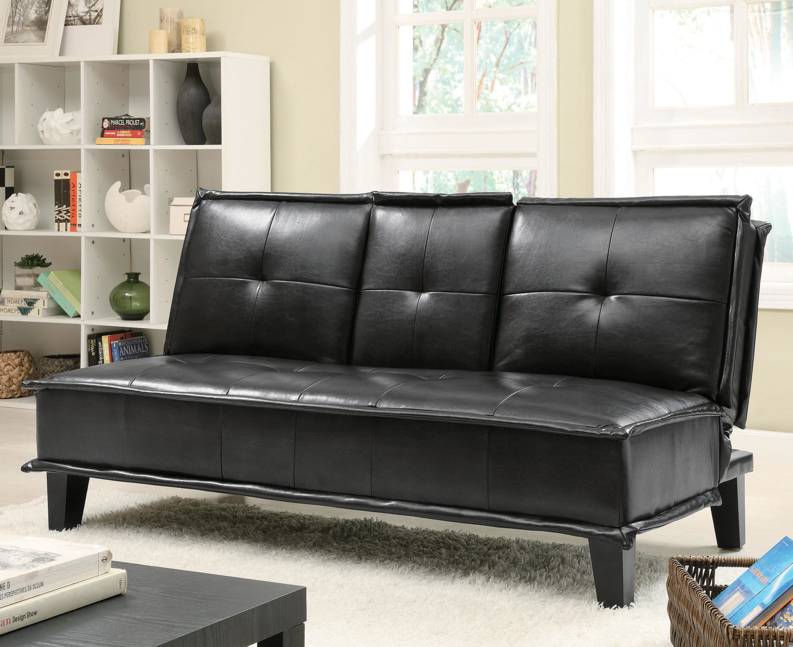 Black Contemporary Vinyl Sofa Bed with Drop Down Table