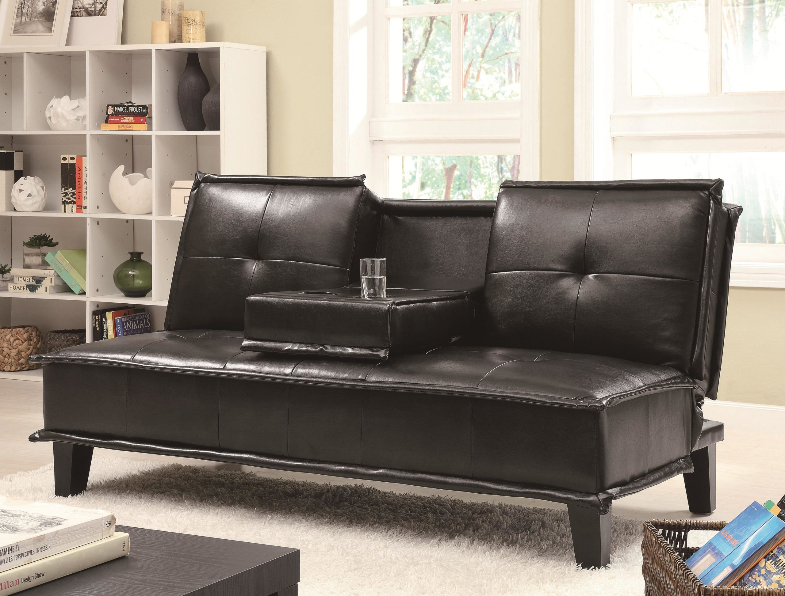 Brown Contemporary Vinyl Sofa Bed with Drop Down Table