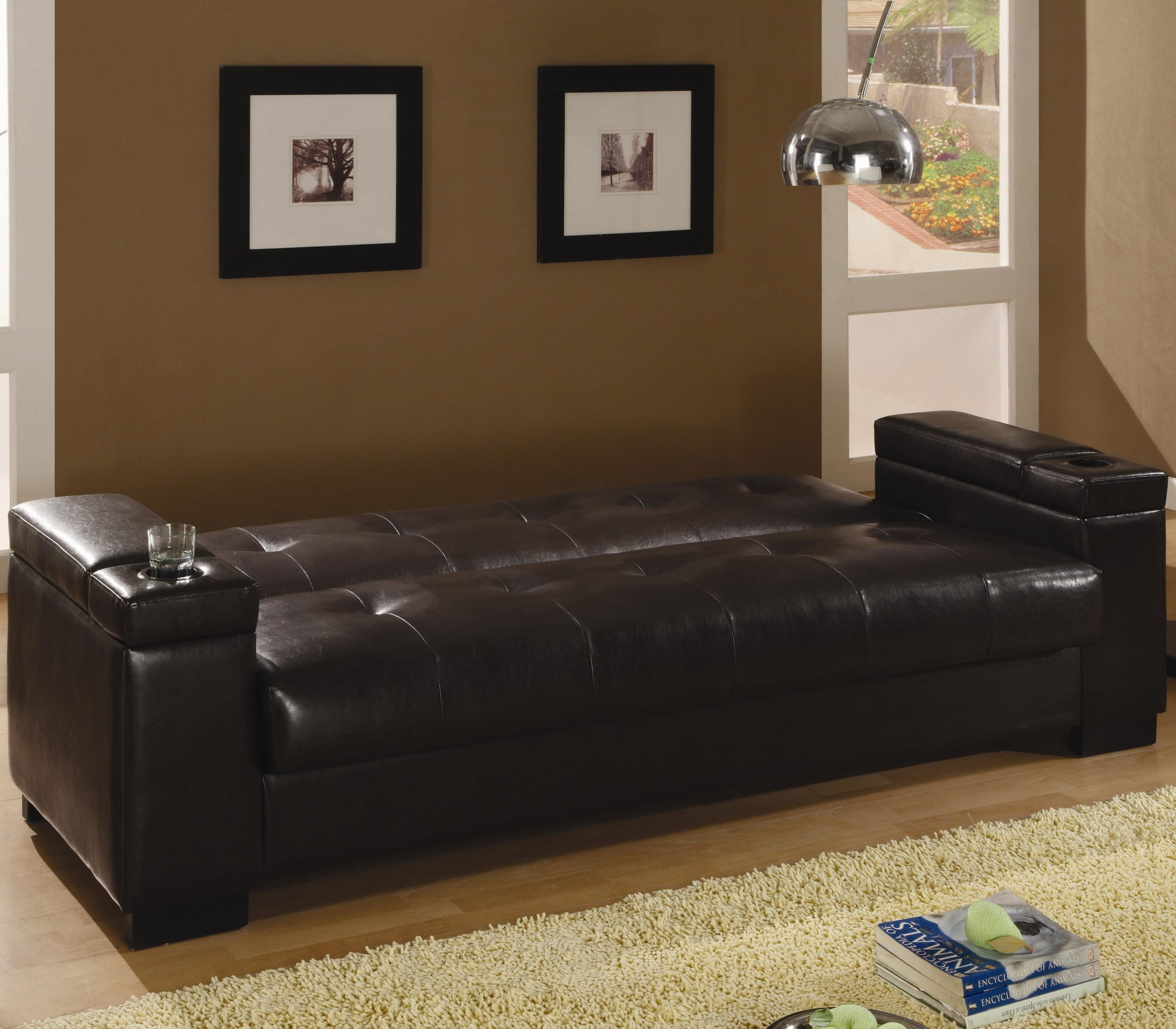 Brown Faux Leather Convertible Sofa Sleeper with Storage down position