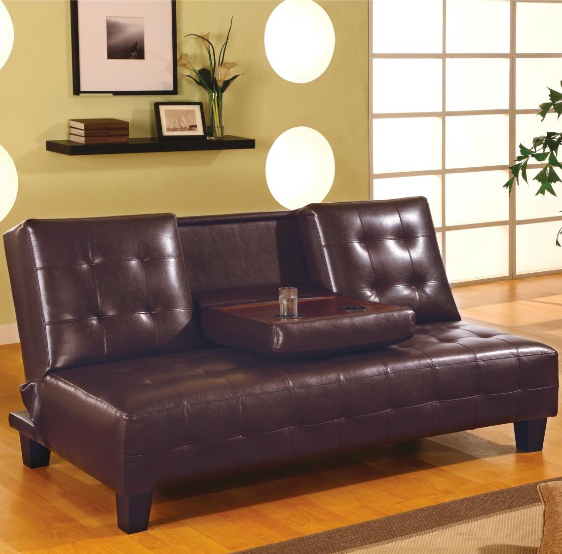 Brown Armless Convertible Sofa Bed with Drop Down Console