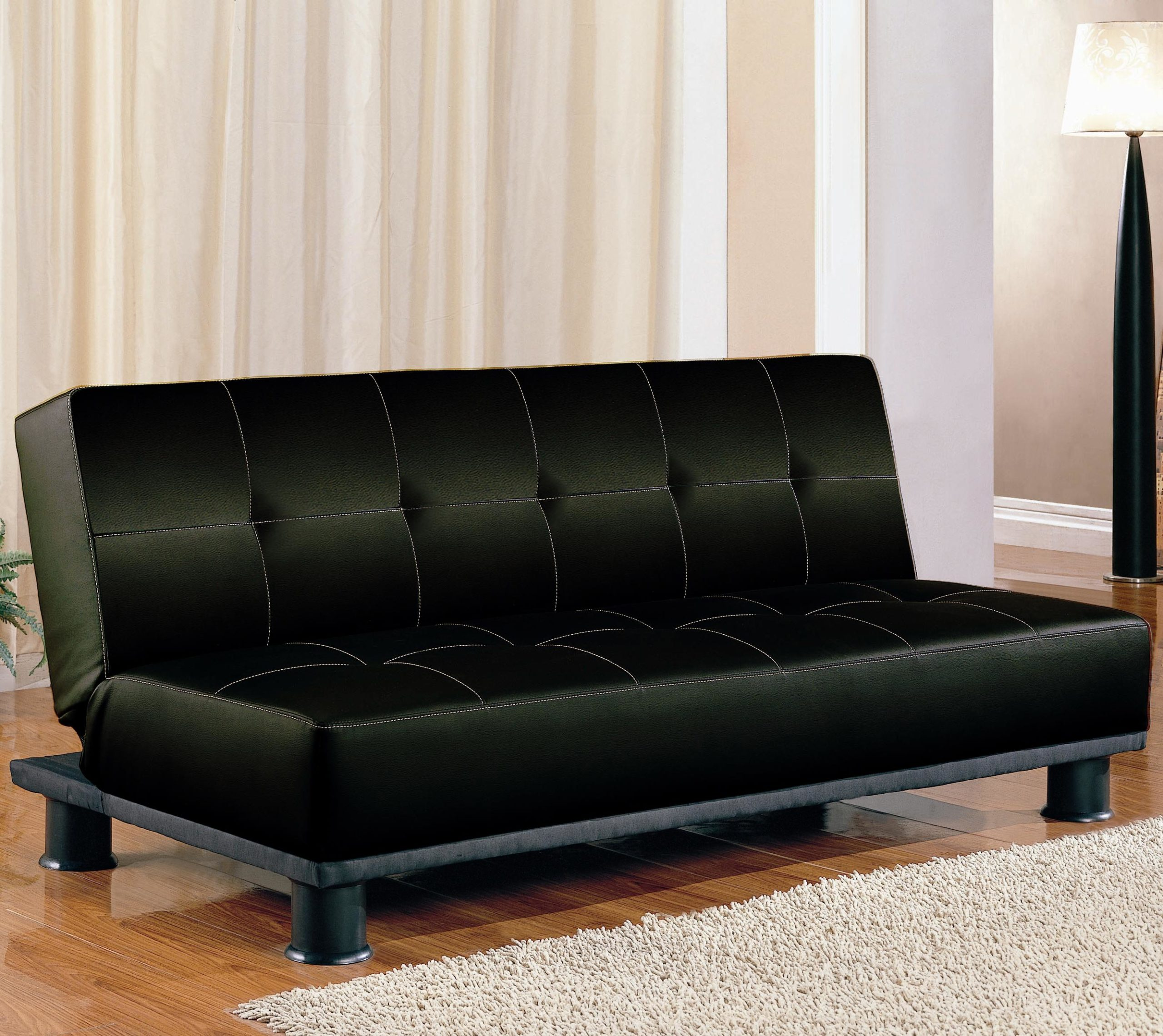 Black Contemporary Armless Convertible Sofa Bed Up Position