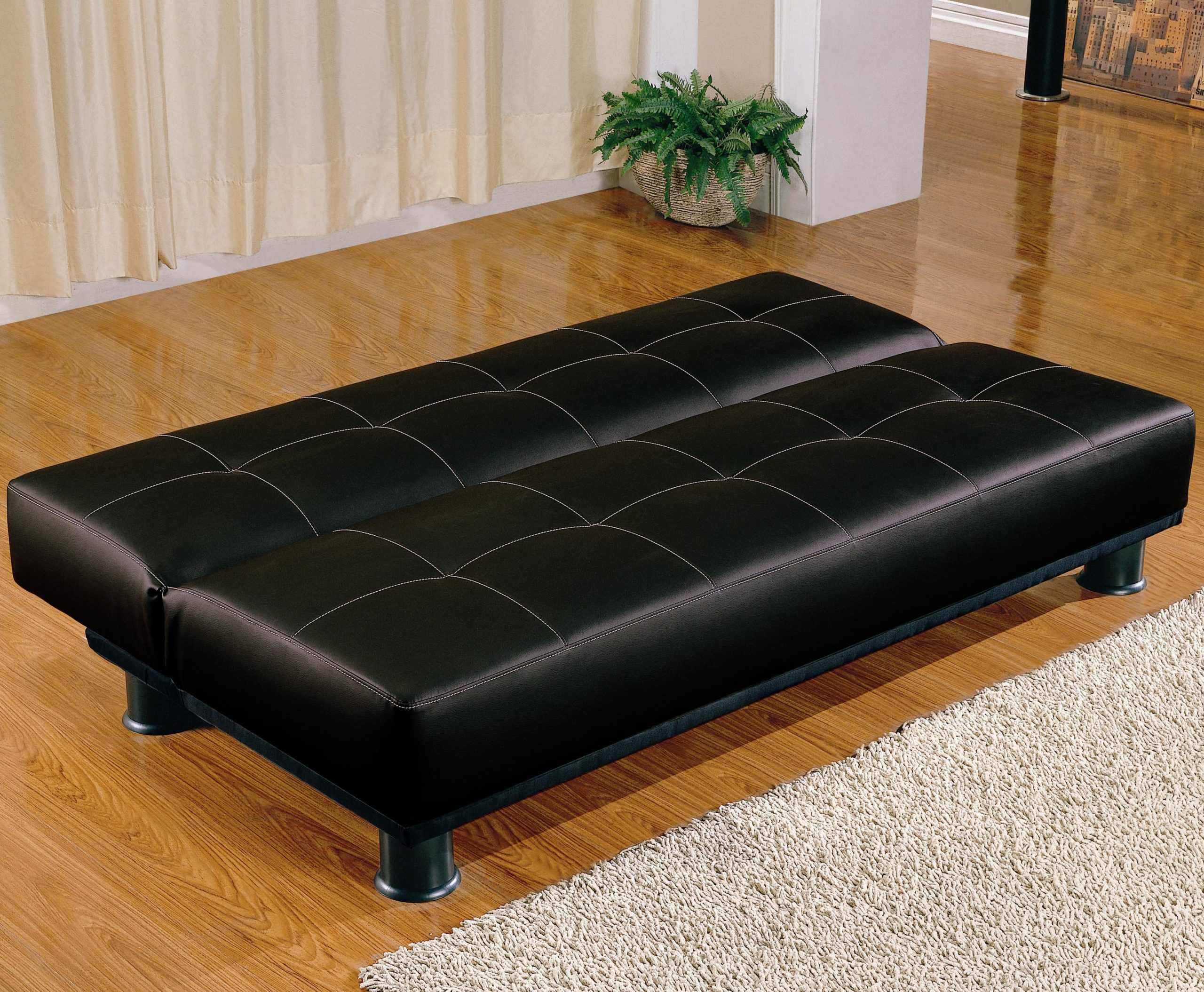 Black Contemporary Armless Convertible Sofa Bed Down Position