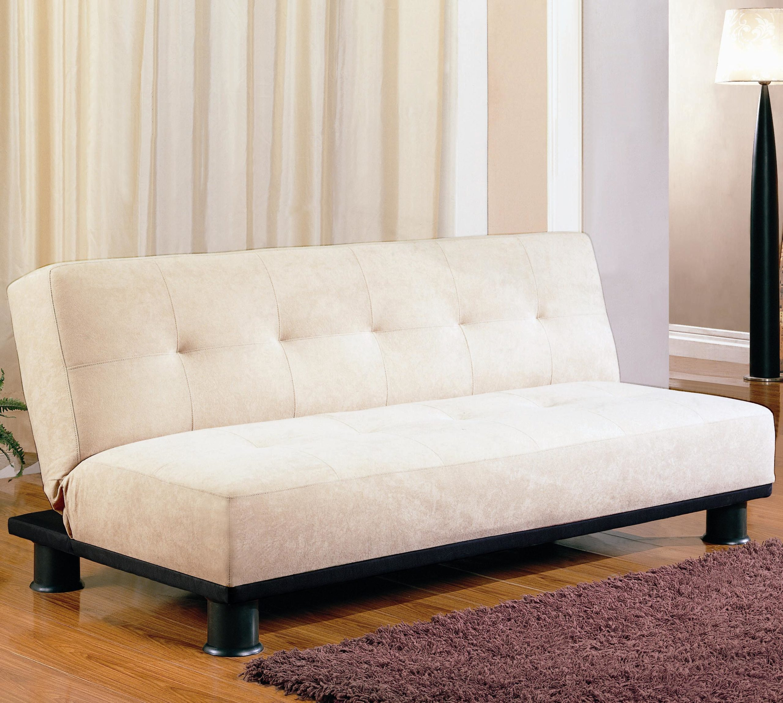 White Contemporary Armless Convertible Sofa Bed Up Position