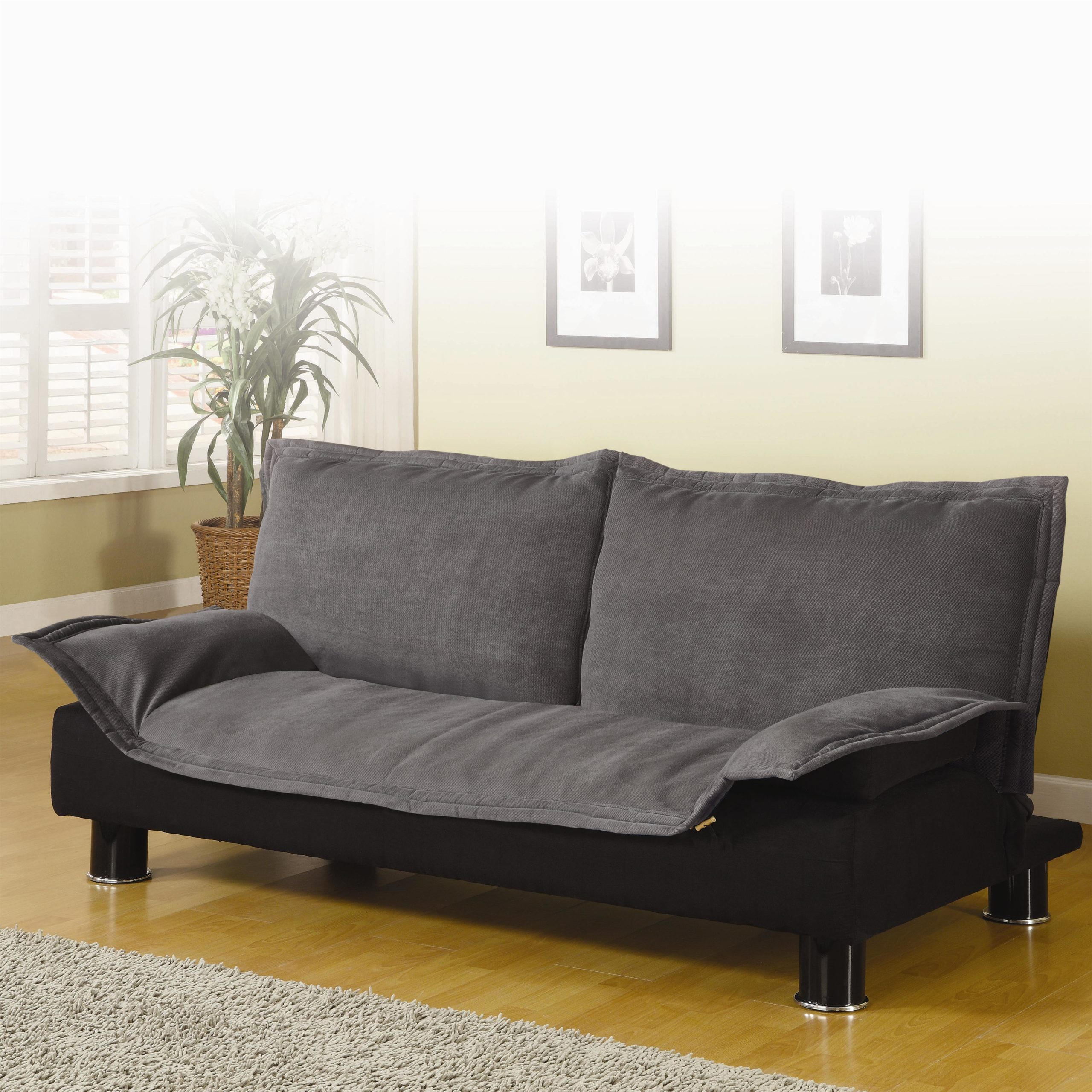 Grey Casual Convertible Sofa Bed in up position