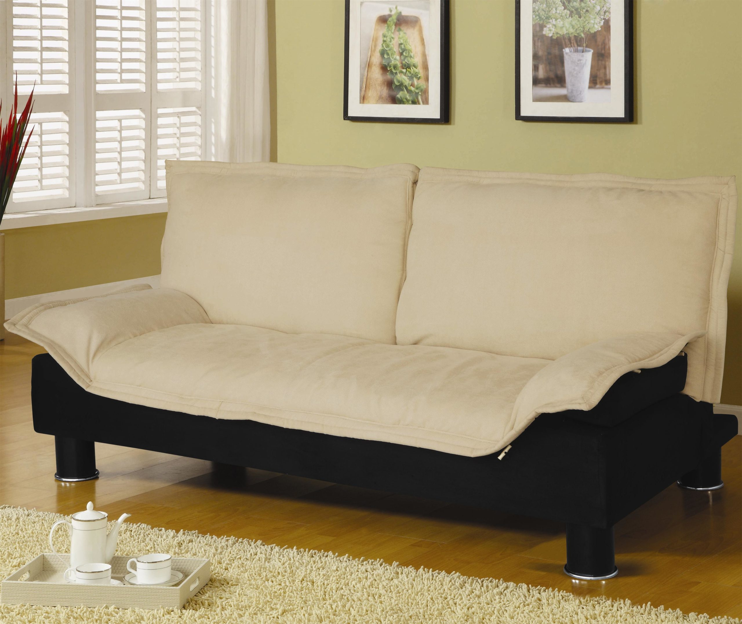 White Casual Convertible Sofa Bed in Up Position