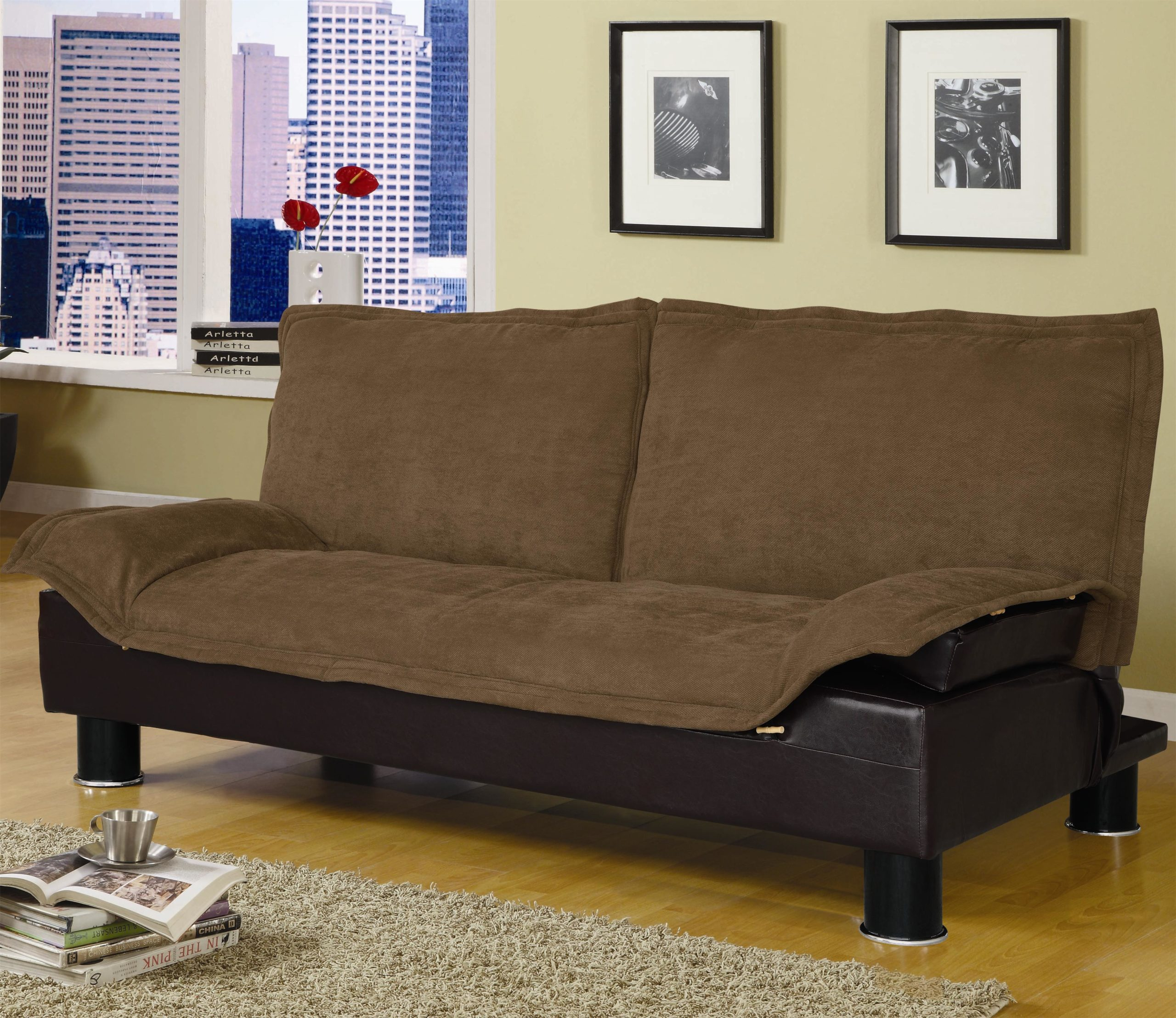 Brown Casual Convertible Sofa Bed in Up Position