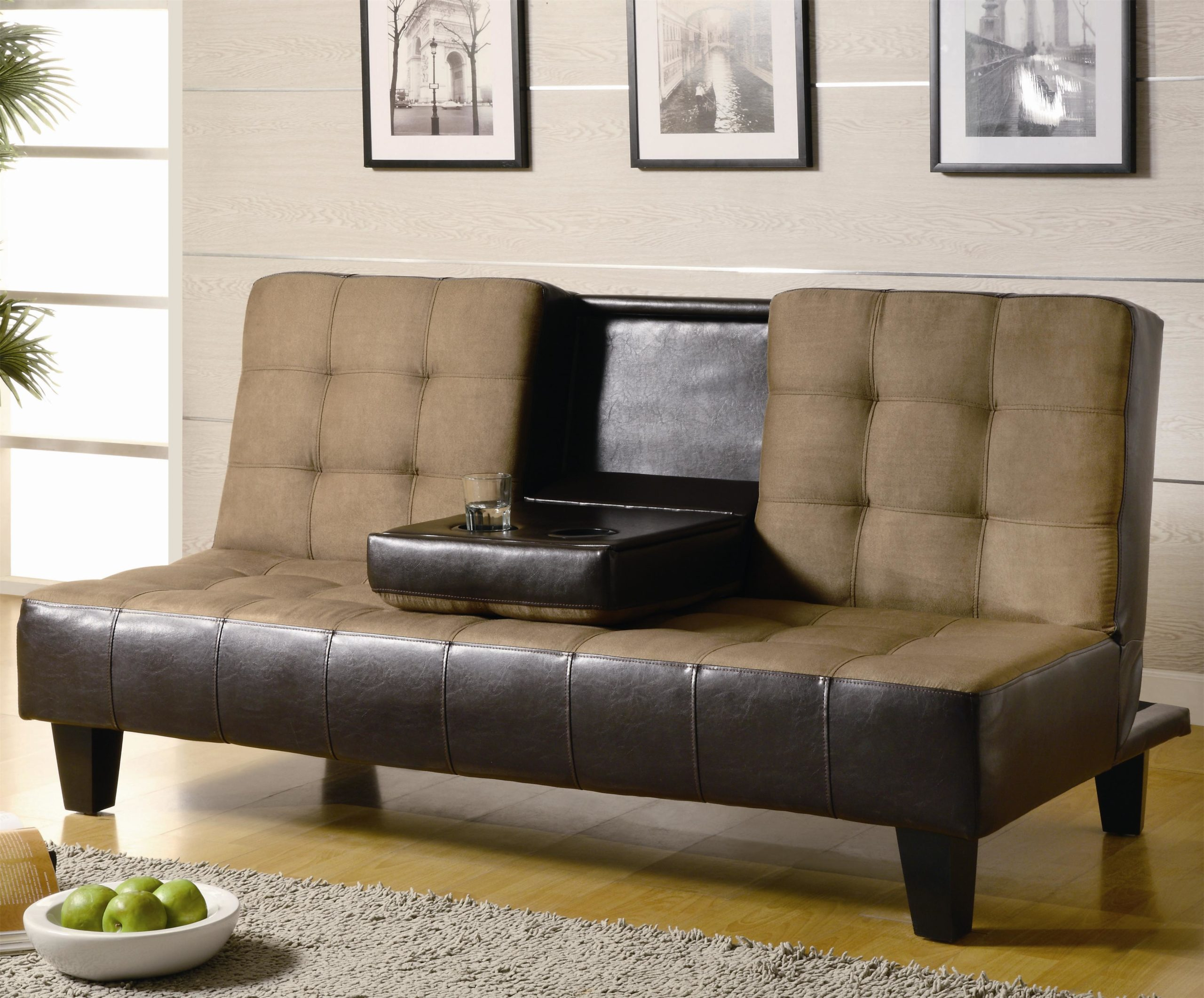 ContempoContemporary Two Tone Convertible Sofa Bed with Drop Down Console in up position