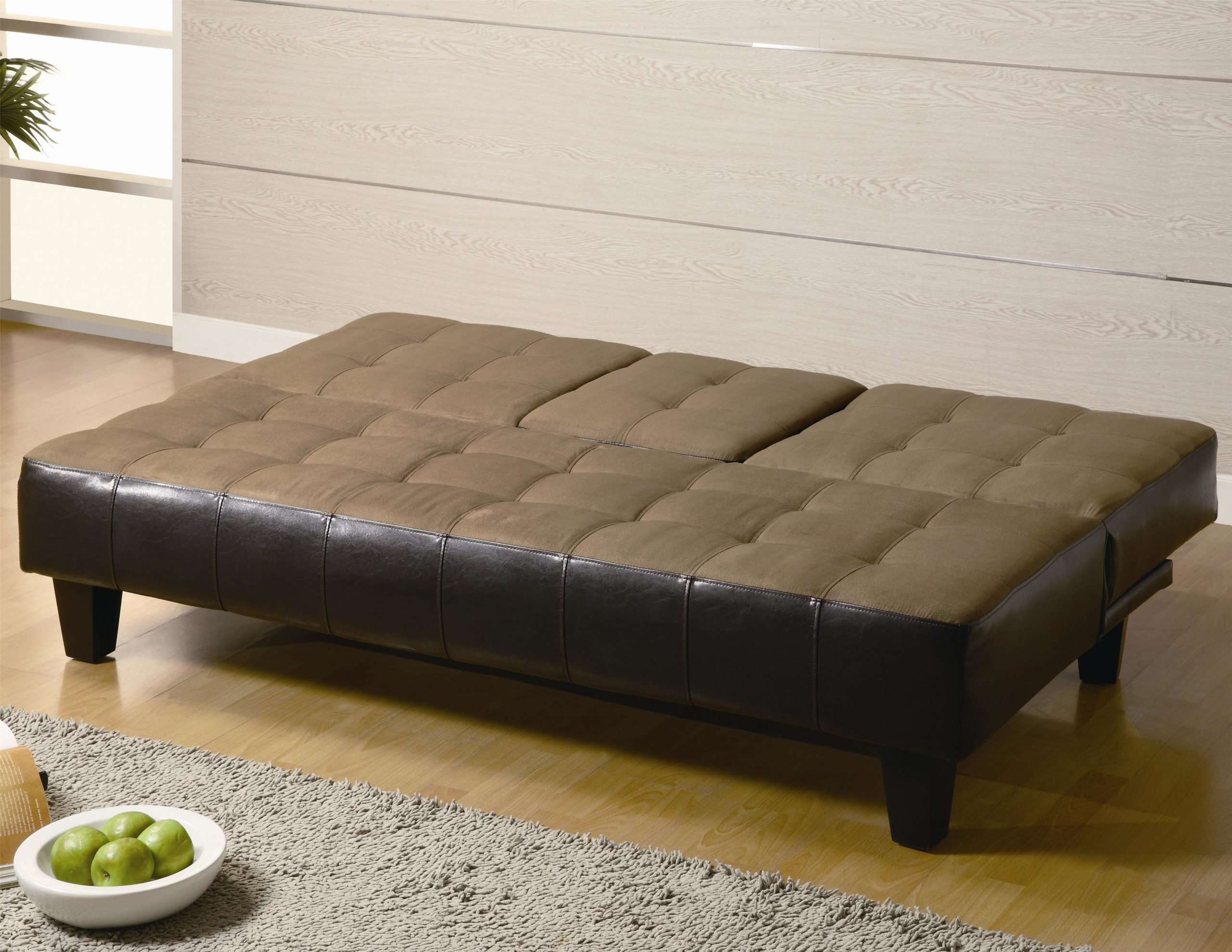 Contemporary Two Tone Convertible Sofa Bed with Drop Down Console in down position