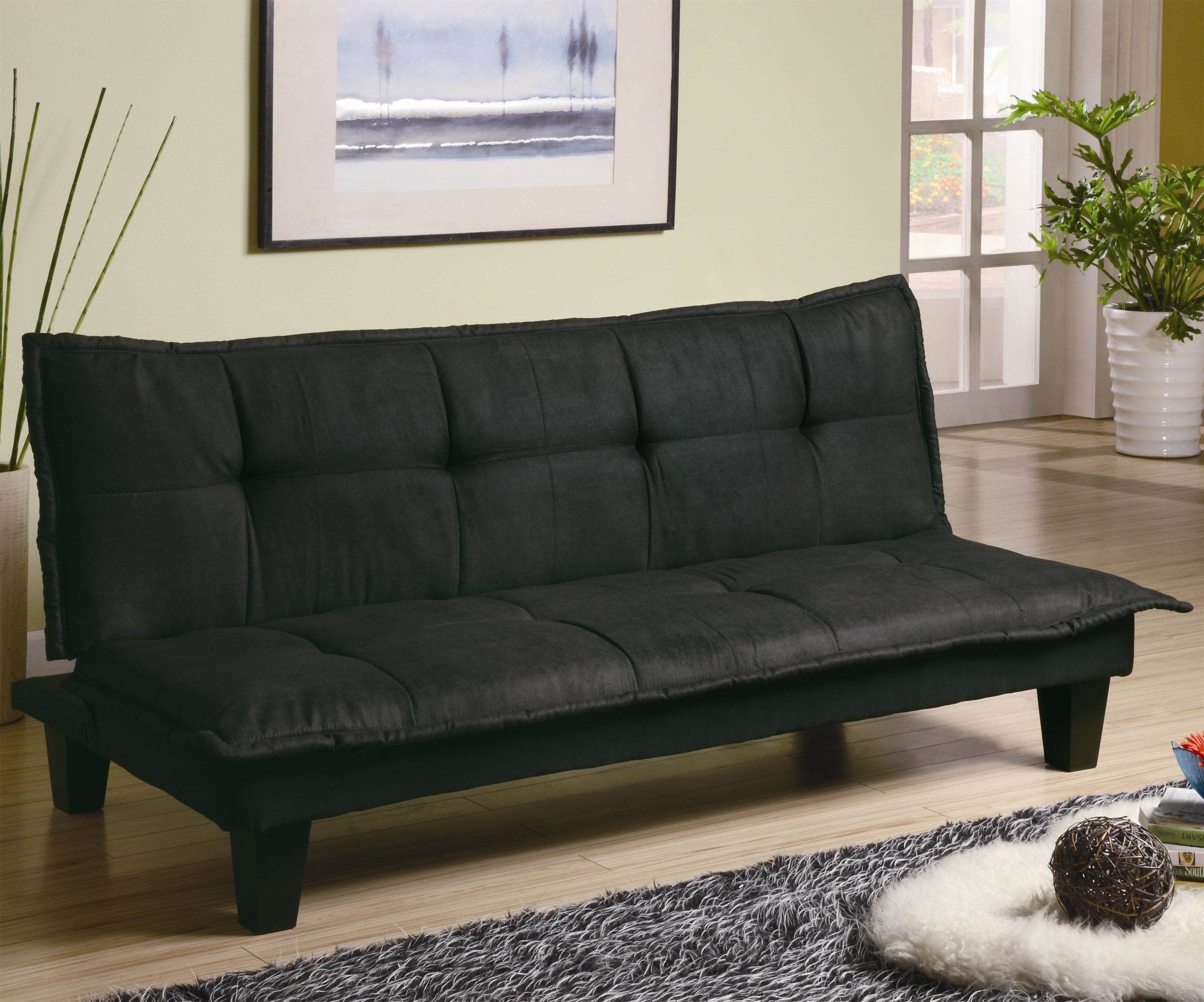 Black Casual Padded Convertible Sofa Bed in up position
