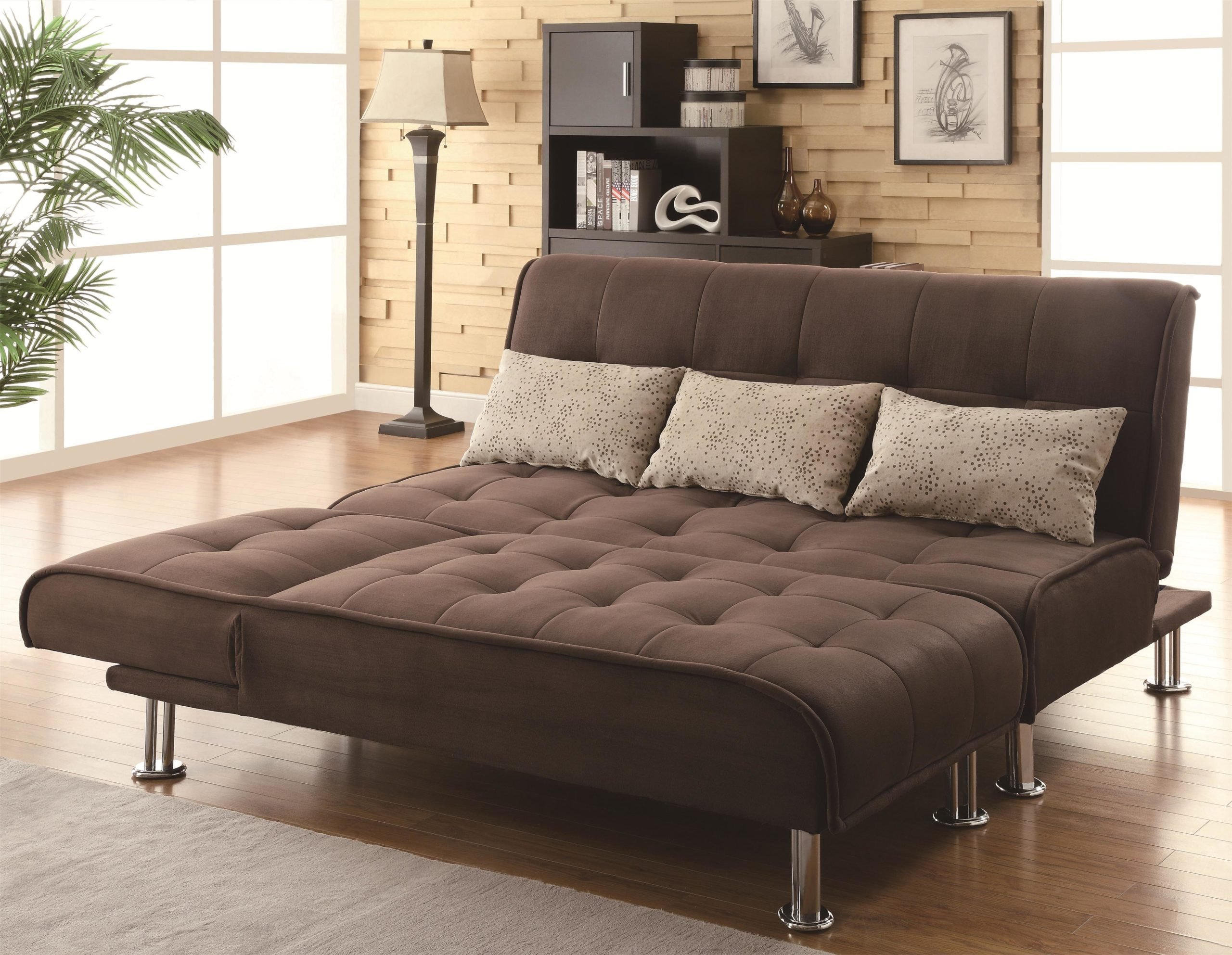 Brown Transitional Styled Sofa Sleeper Futon Bed half down