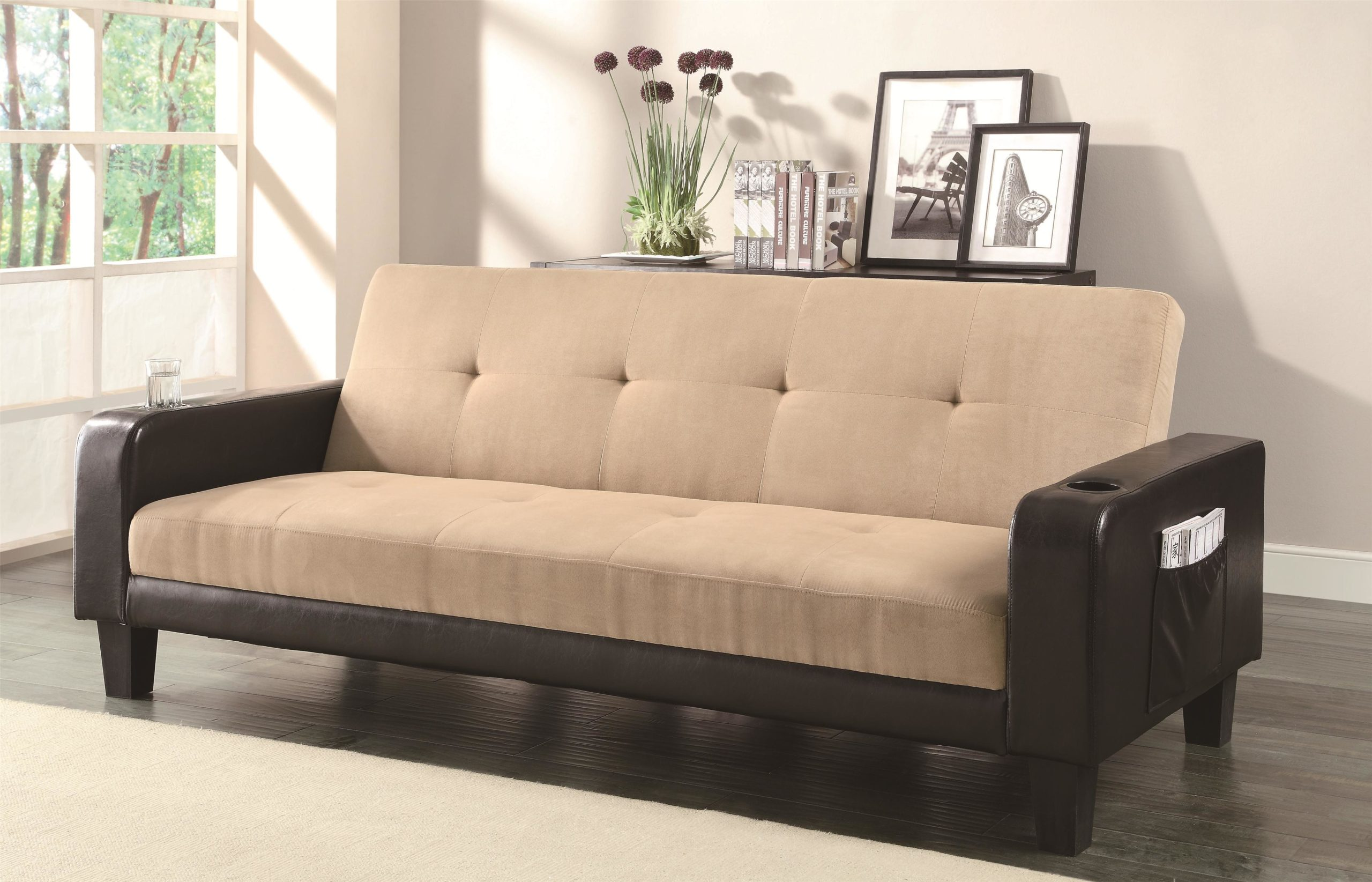 Contemporary Adjustable Sofa with Cup Holders and Magazine Storage in Up Position