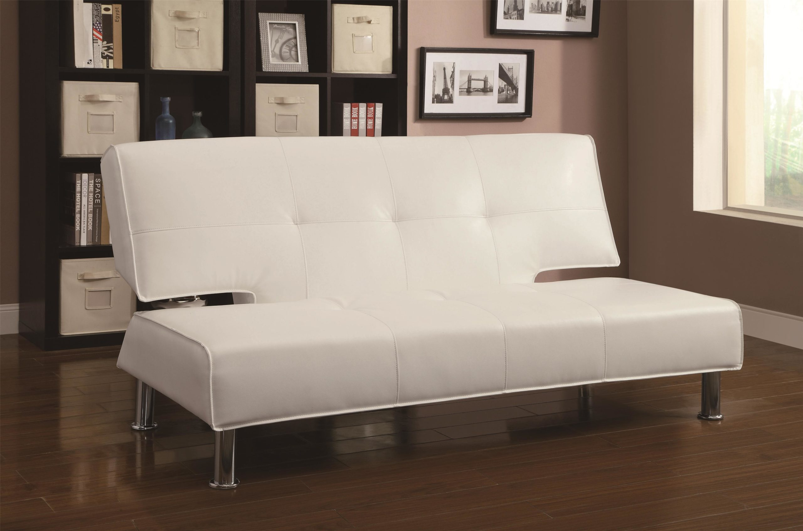 White Adjustable Armless Sofa Bed with chrome legs Up Position