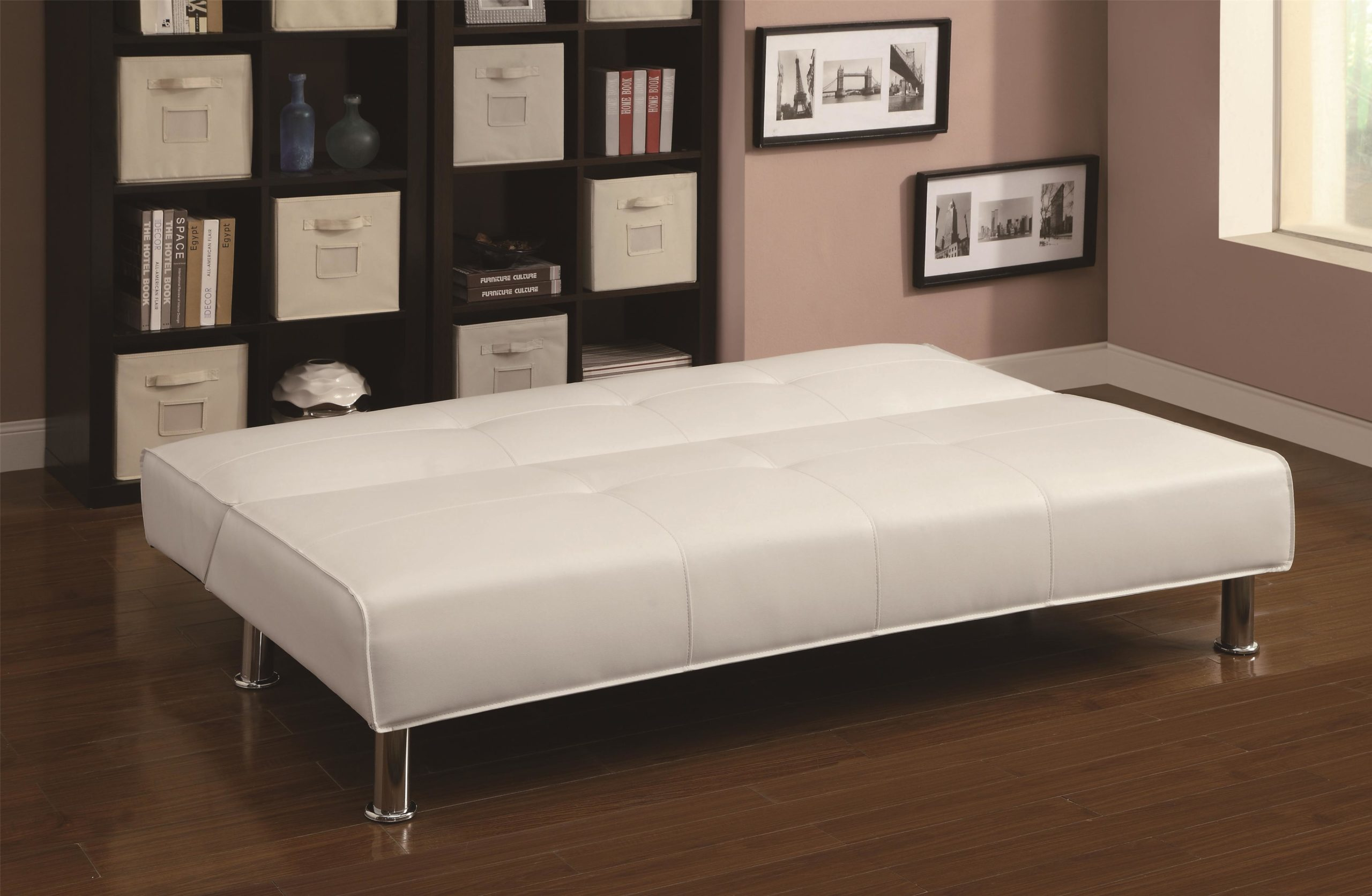 White Adjustable Armless Sofa Bed in down position