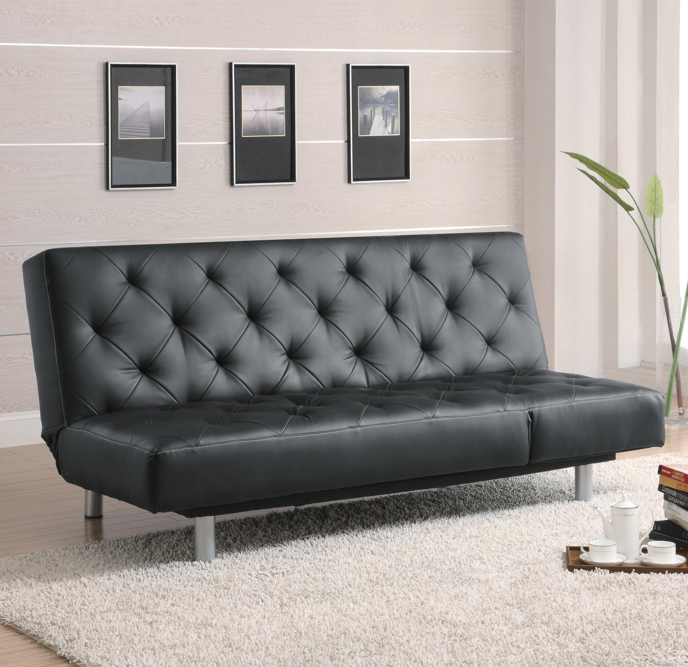 Black Vinyl Tufted Sofa Bed in up position