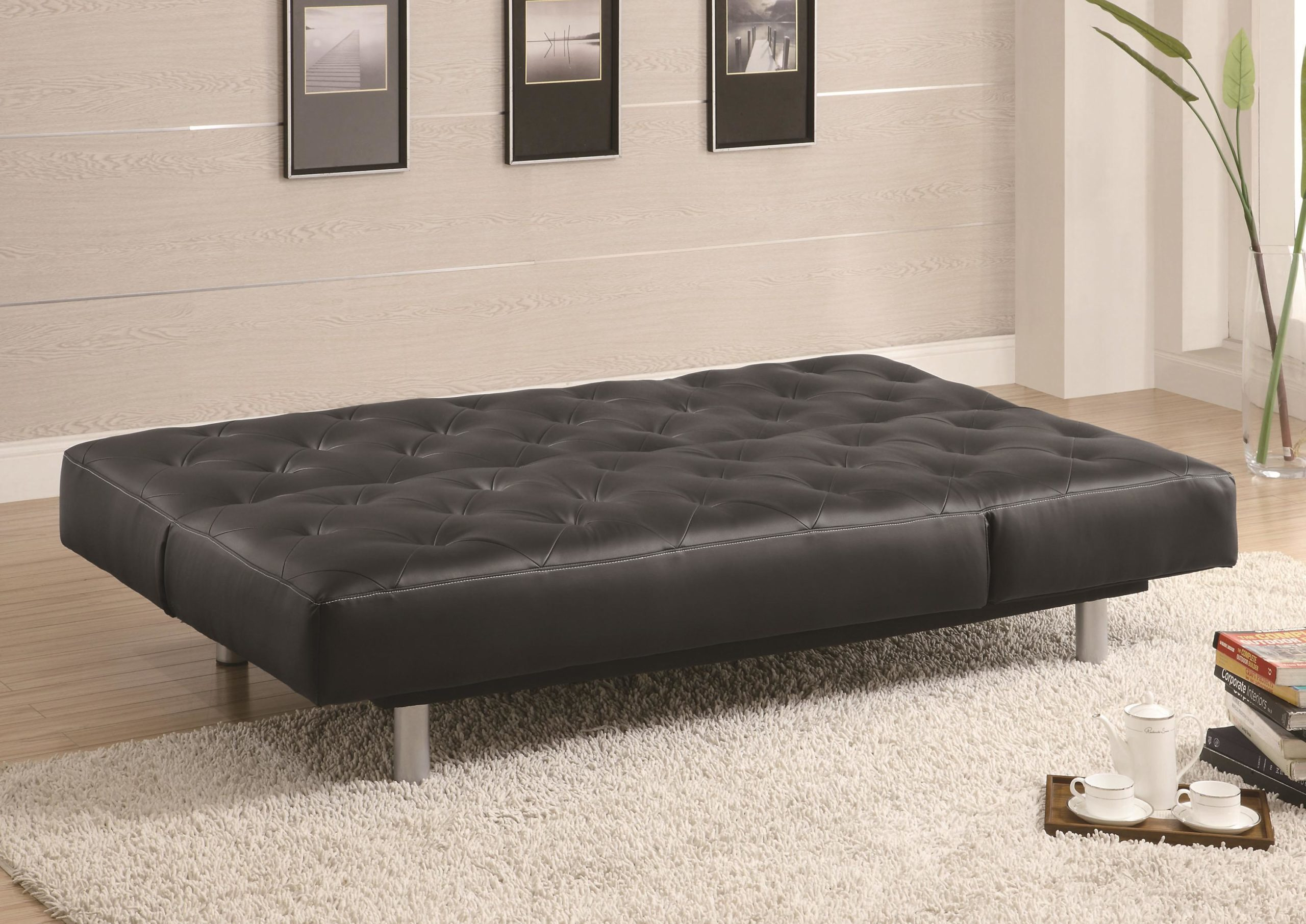 Brown Vinyl Tufted Sofa Bed - Oversize Chaise