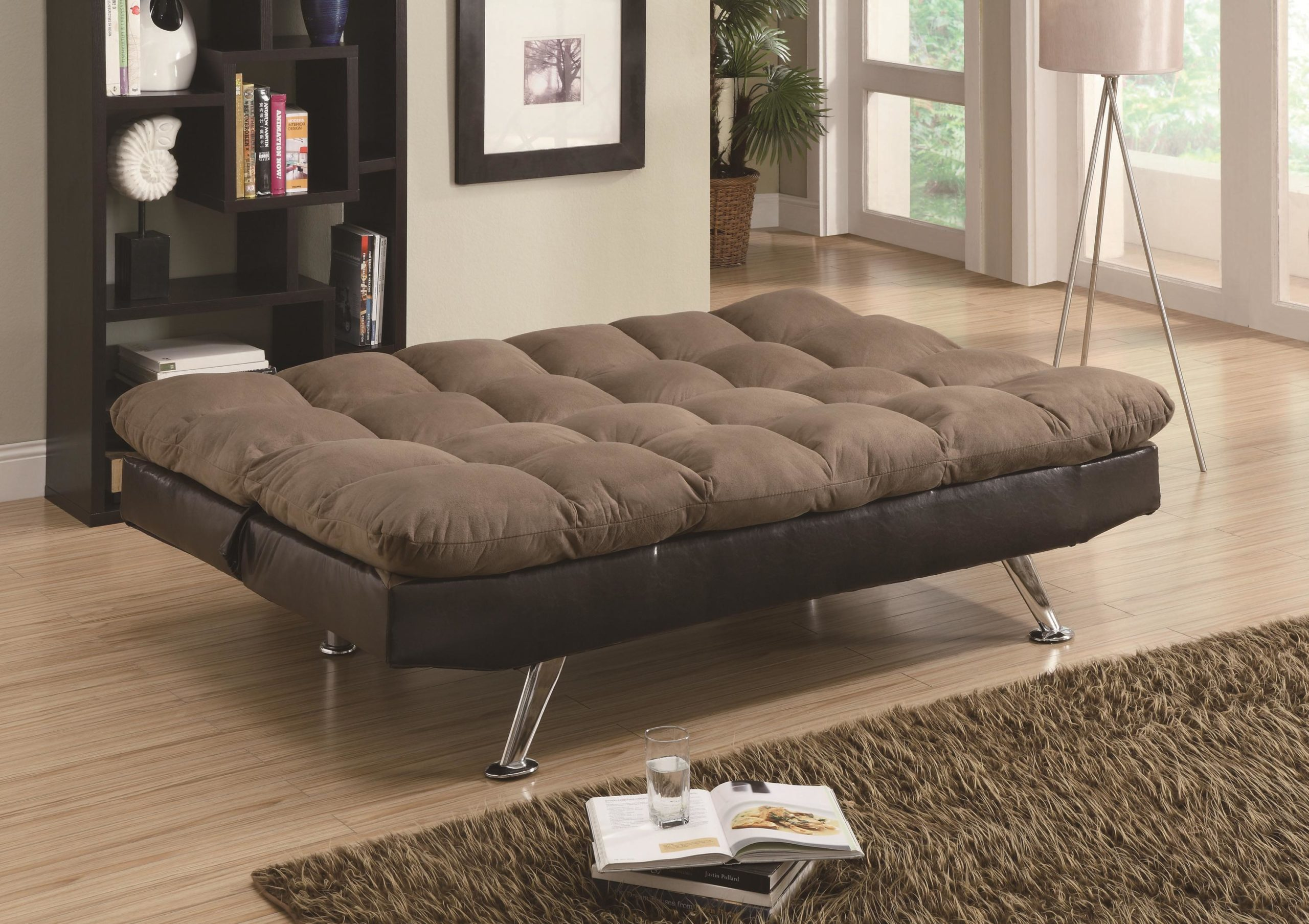Contemporary Brown Microfiber amd Vinyl Sofa Bed in down position